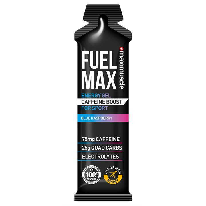 Maximuscle Fuel Max Caffeine Boost Energy Gels 12 x 70g Blue Raspberry (BBE 28/02/21)