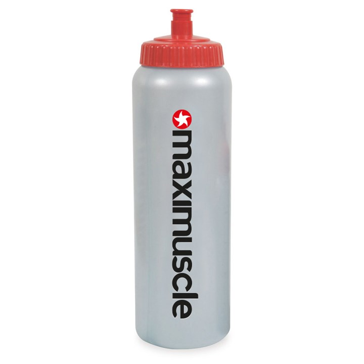 Maximuscle Original Screw Cap Sports Water Bottle 1 Litre in Red and Grey