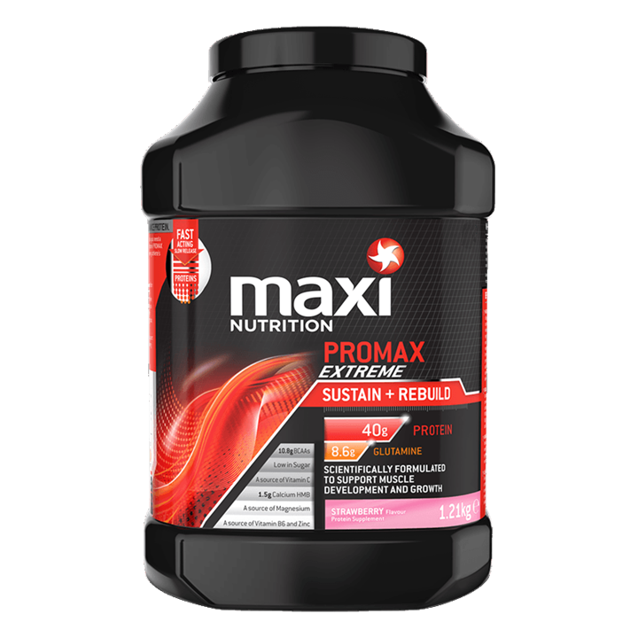 MaxiNutrition Promax Extreme Protein Powder 1.21kg Tub - Strawberry (BBE 09/10/19)