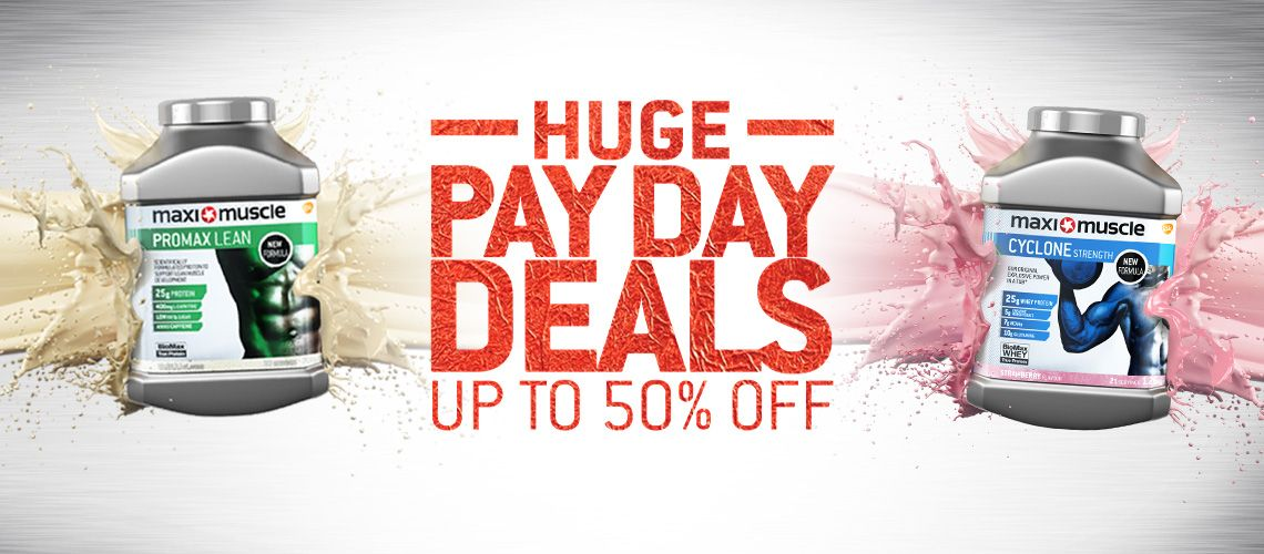 payday deals from Maximuscle, up to 50% off